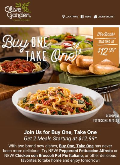 Olive Garden Buy One Get One Free Lunch Save A Lot Mom