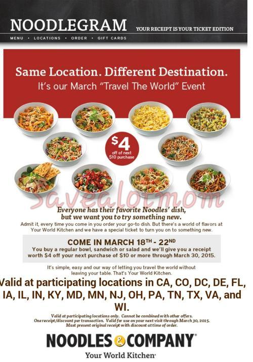 Noodles & Company Special Offer   Save A Lot Mom   kdhnews com