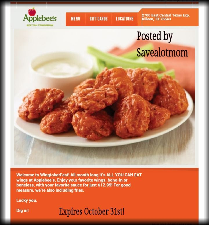Applebees All You Can Eat Chicken Wings Yes Save A
