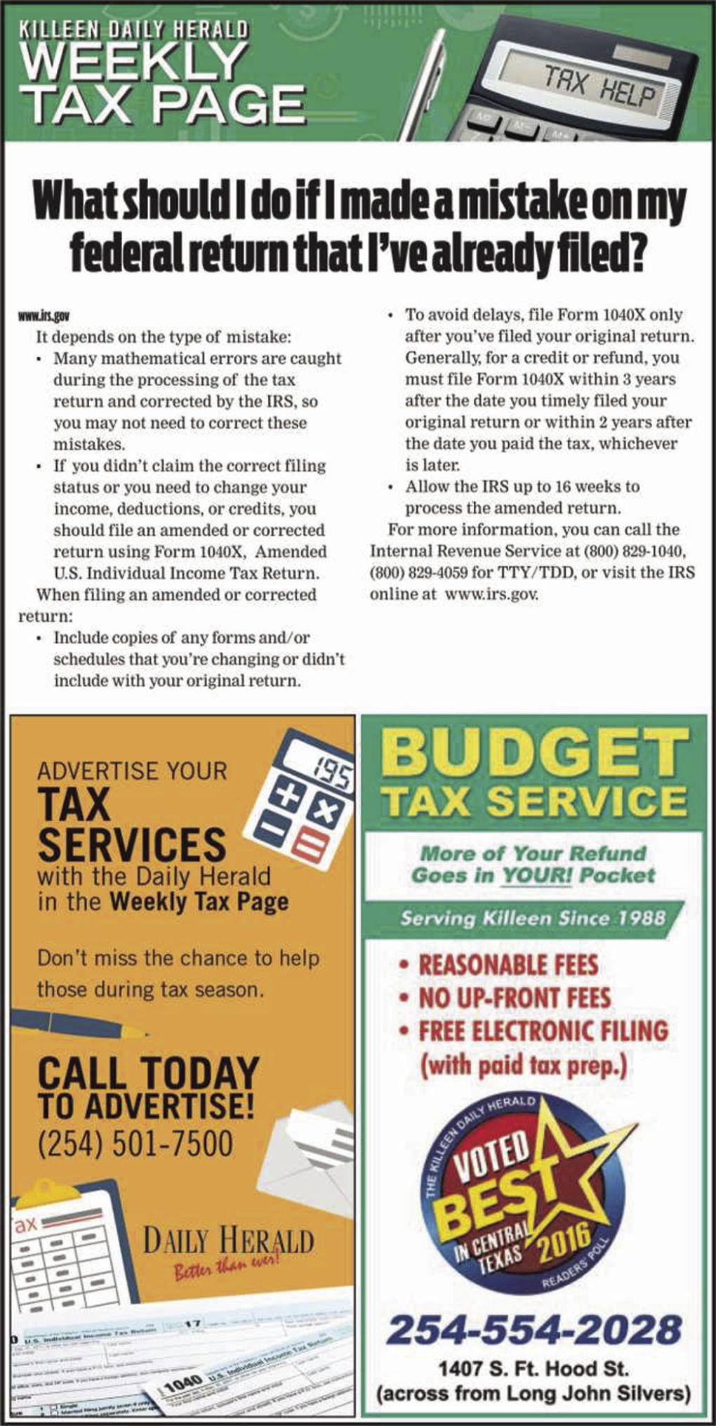 Weekly Tax Page Jan. 8th