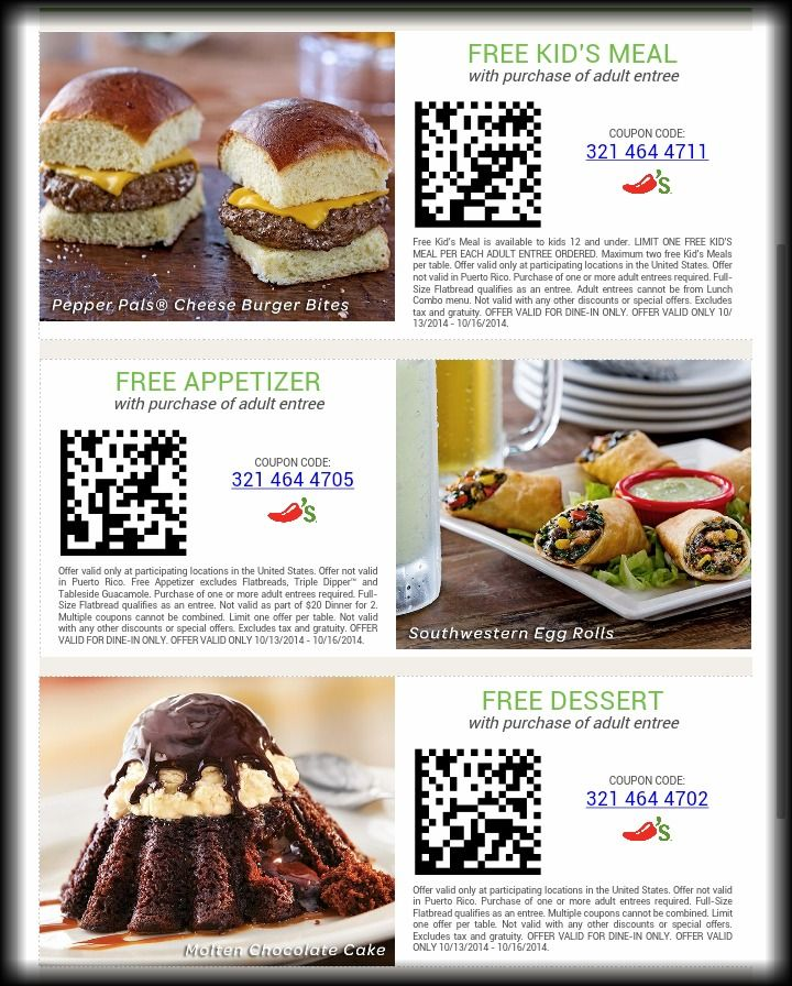 Chilis coupons free appetizer free dessert or free kids for Garage appeal coupon code