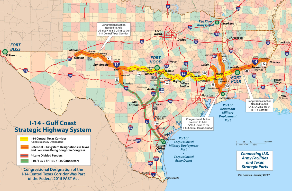 Highway 190 Texas Map Highway 190 is officially Interstate Highway 14 from Cove to