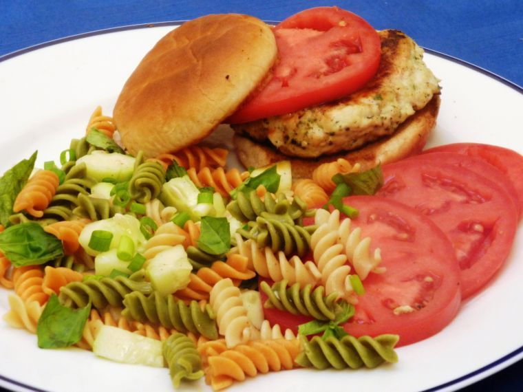 Chicken burger with garden fresh pasta salad