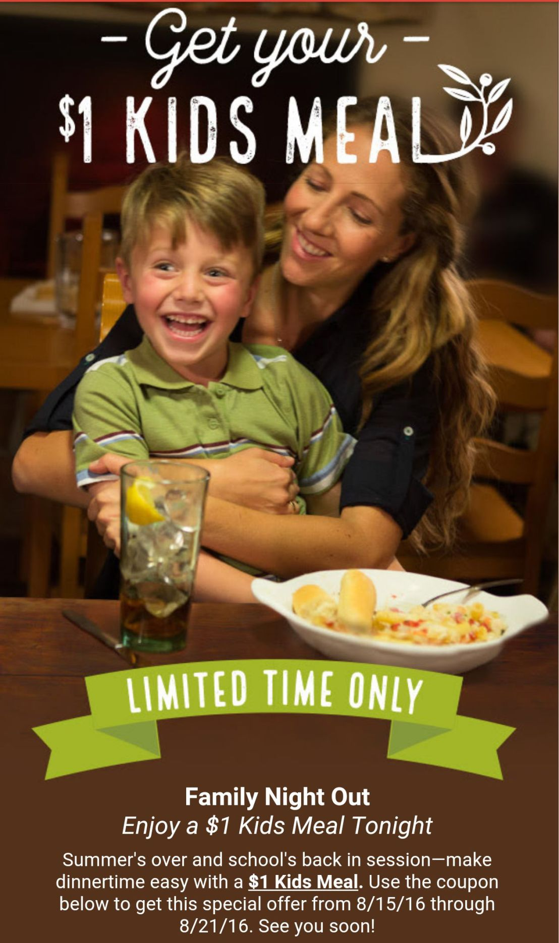 Olive Garden 1 Kids Meals Coupon Included Save A Lot Mom