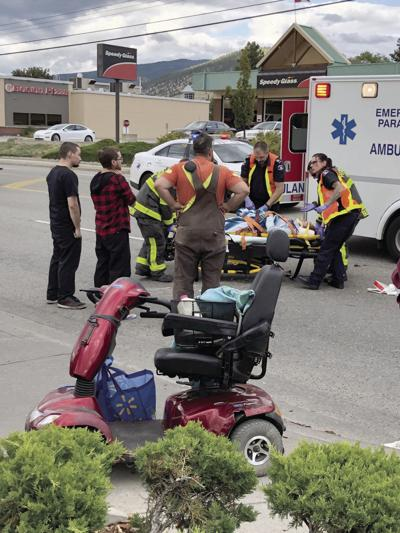 Woman riding scooter hit, taken to hospital
