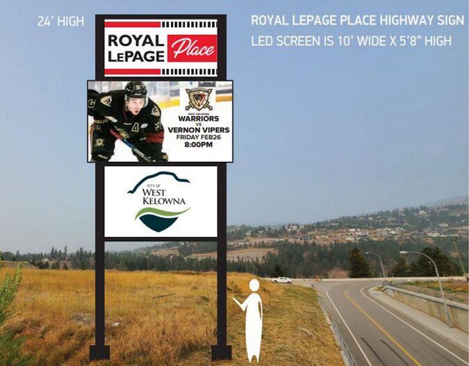 Big new highway sign touted for West Kelowna's hidden arena