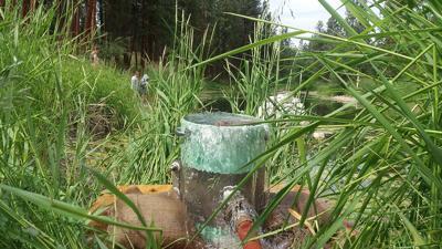 Makeshift fountain