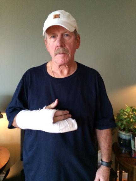 Injured protecting his dog