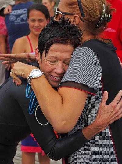 A hug for the coach