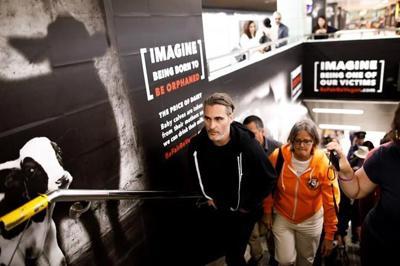 Joaquin Phoenix visits Toronto subway station to support vegan campaign