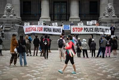 Demonstrators call for end to police violence at rally for B.C. nursing student