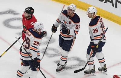Connor McDavid scores twice as Oilers beat Flames 4-1 in NHL exhibition game