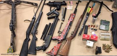 Weapons, drugs seized