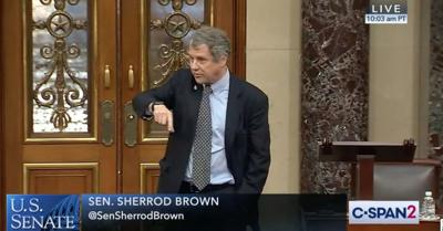 US Senator Sherrod Brown speaks on the floor of the Senate