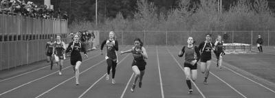 Girls' 200-meter finals race