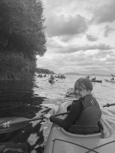 Kids kayak camp outing