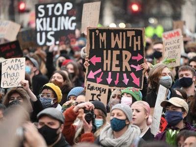 Women march London