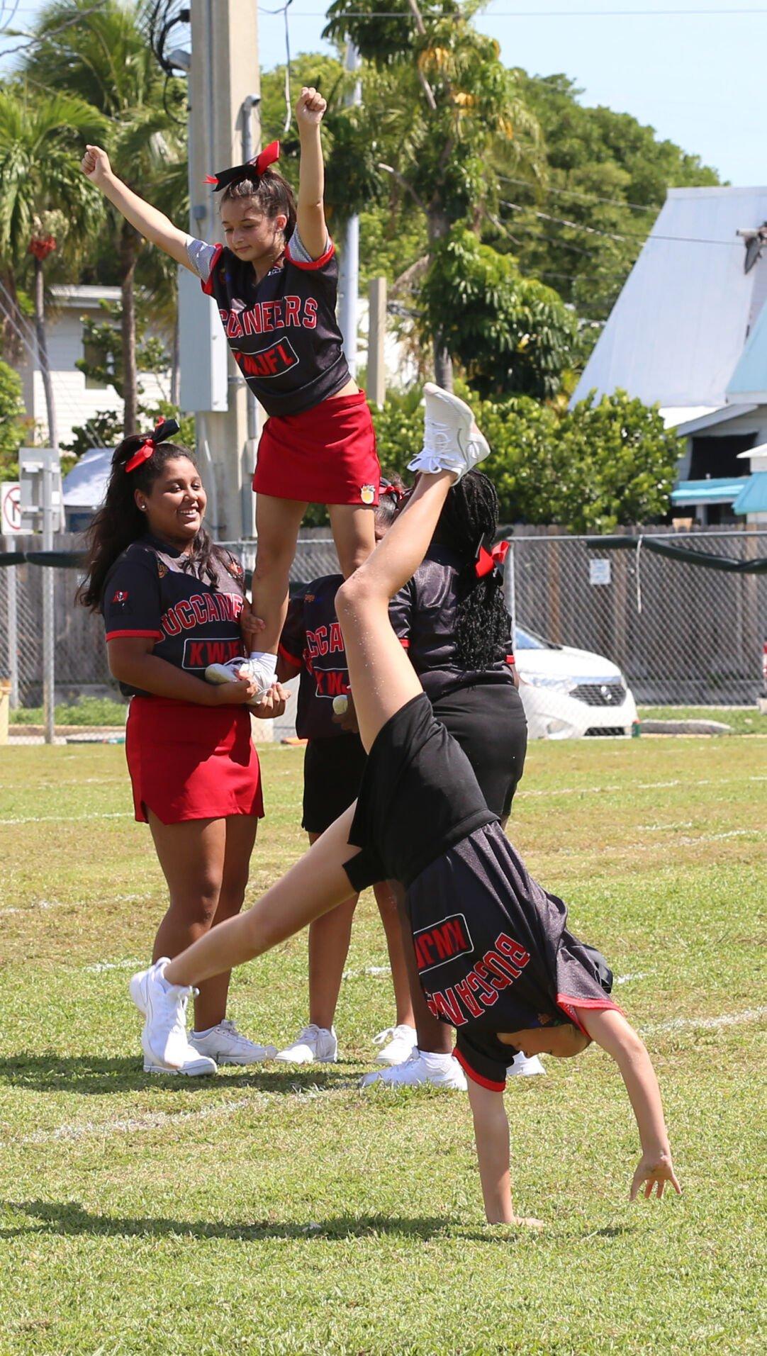B DIV Bucs cheerleaders halftime acrobatics.JPG
