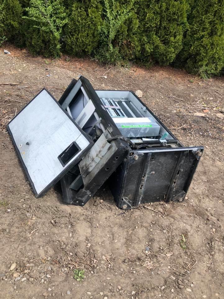 Soda machine found destroyed