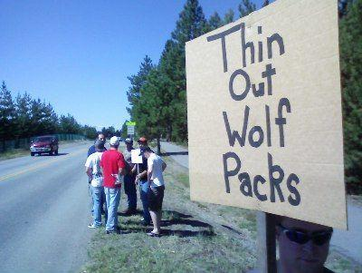 Wolf hunt rally at Cd'A Fish and Game Office