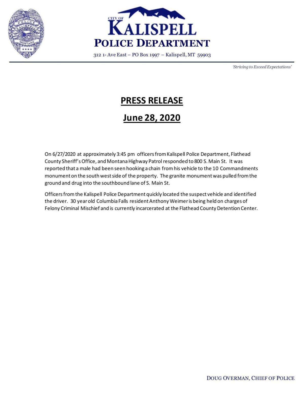 Kalispell Police Department release