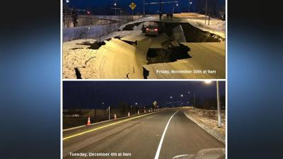 Alaska post-earthquake road transformation