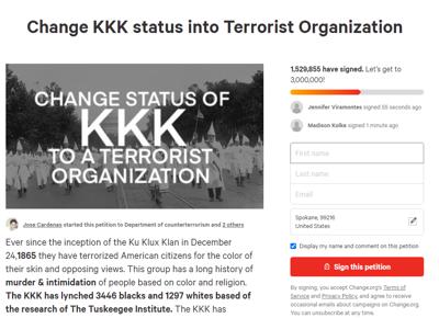 KKK Change.org petition terrorist organization
