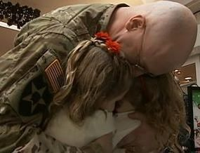Two Young Girls Reunited With Father During Santa Visit