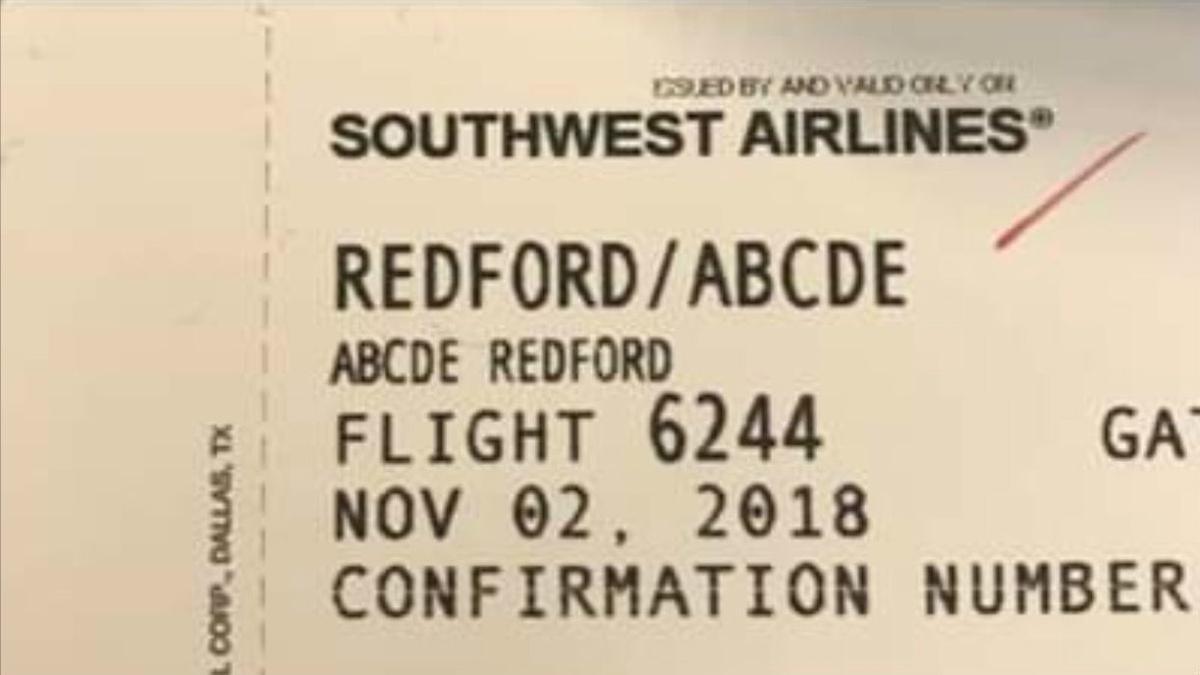 Screen shot of ticket