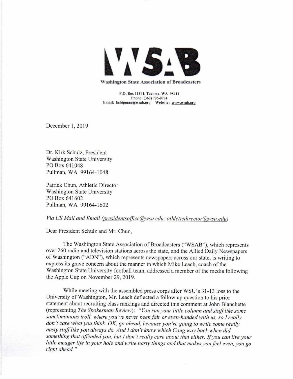 WSAB ADN WSU Letter - Leach/Blanchette incident