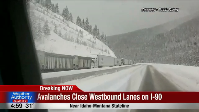 WATCH: Westbound I-90 closed at St  Regis due to avalanches