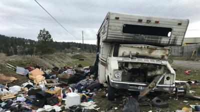 Torched and abandoned RV becomes eyesore in Spokane