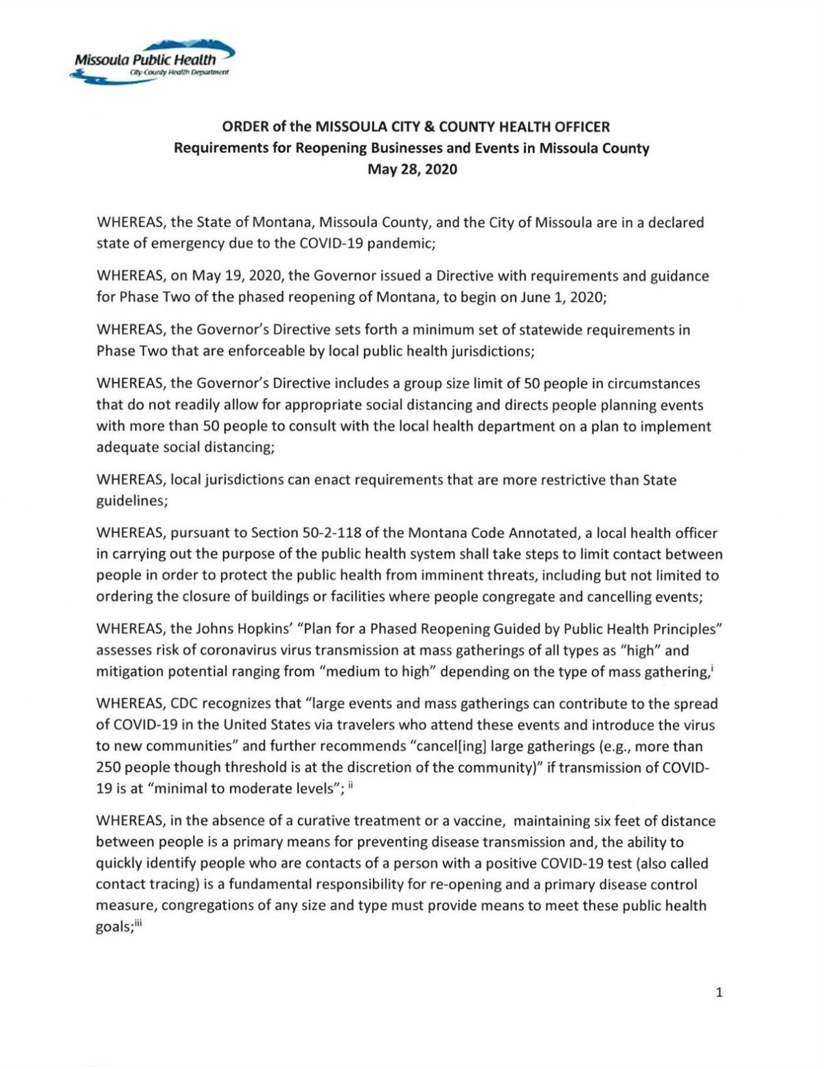 Read More Missoula Health Officer Order On May 28 Regional Khq Com