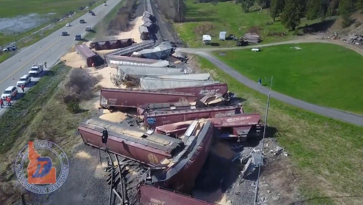 PHOTOS: Lanes of Highway 95 to remain closed during train derailment