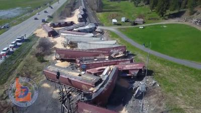 PHOTOS: Lanes of Highway 95 to remain closed during train derailment cleanup; Crews warn of extra animals in the area