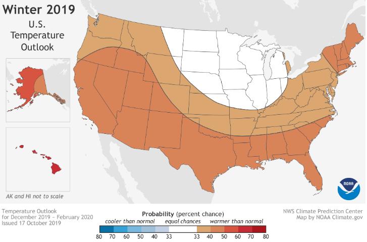 NOAA winter 2019 temperature outlook