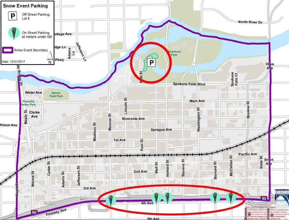Plow crews will work in downtown Spokane Wednesday night