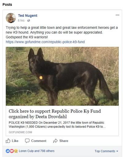 Ted Nugent supports Republic Police