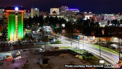PHOTOS: Spokane skyline brightens evening skies