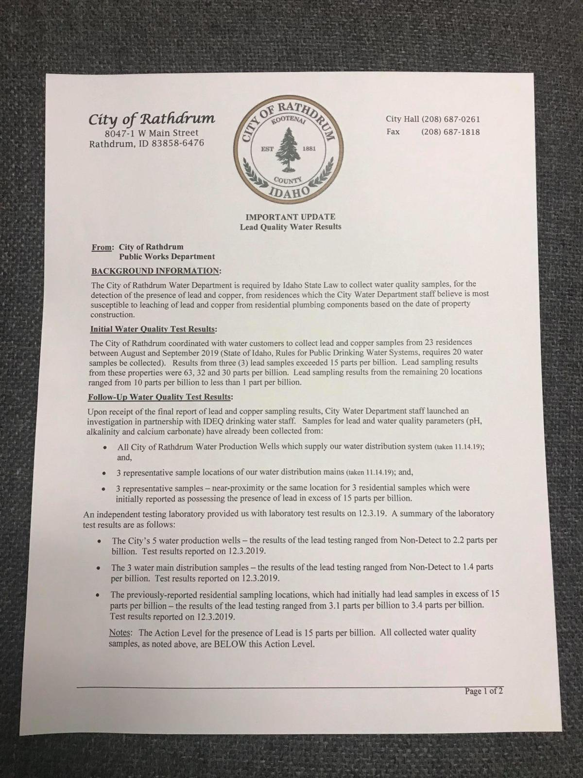 Letter from City of Rathdrum addressing lead in water