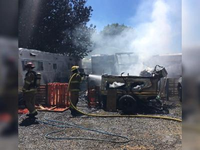 Three trailers destroyed during RV Park fire near Moses Lake