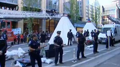 Seattle environmental protest shuts down busy streets