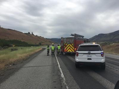 State Route 28 east of Wenatchee closed because of a power pole fire