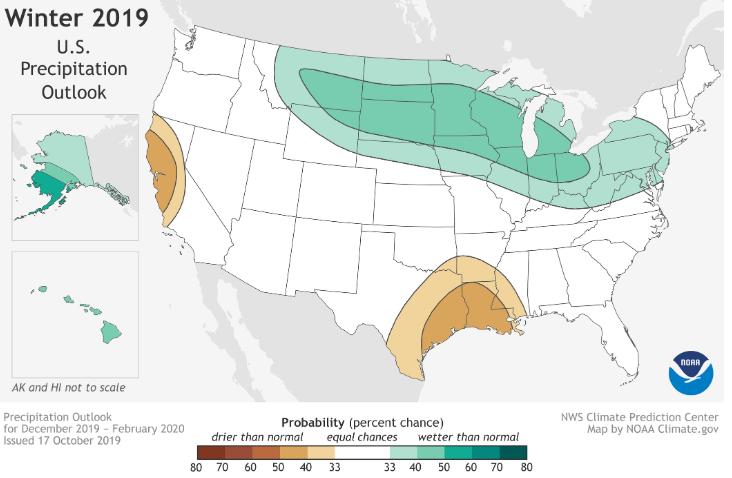 NOAA winter 2019 precipitation outlook