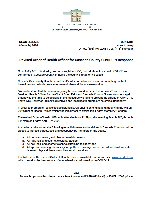 Cascade CCHD revised Order of Health Oficer