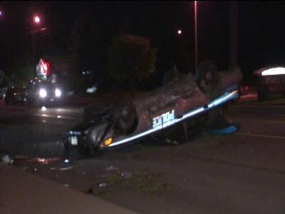 KHQ EXCLUSIVE: Police Officer Flips Car In Spokane Valley