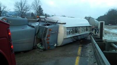 Eastbound I-90 shut down near North Bend after fuel tanker rollover