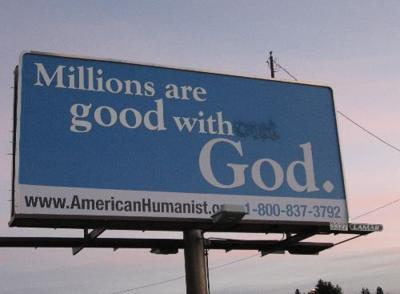 Atheist billboard vandalized a second time