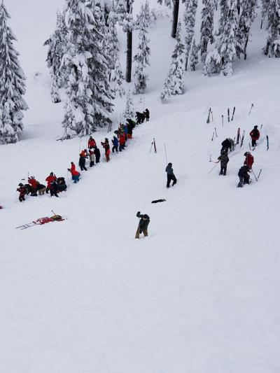 PHOTO: Rescuers looking for people following Silver Mountain Avalanche
