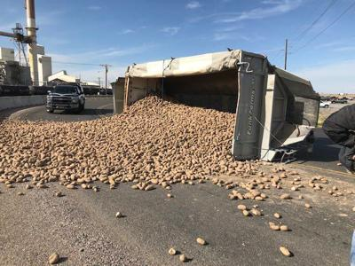 Idaho potato truck rollover crash near Pocatello